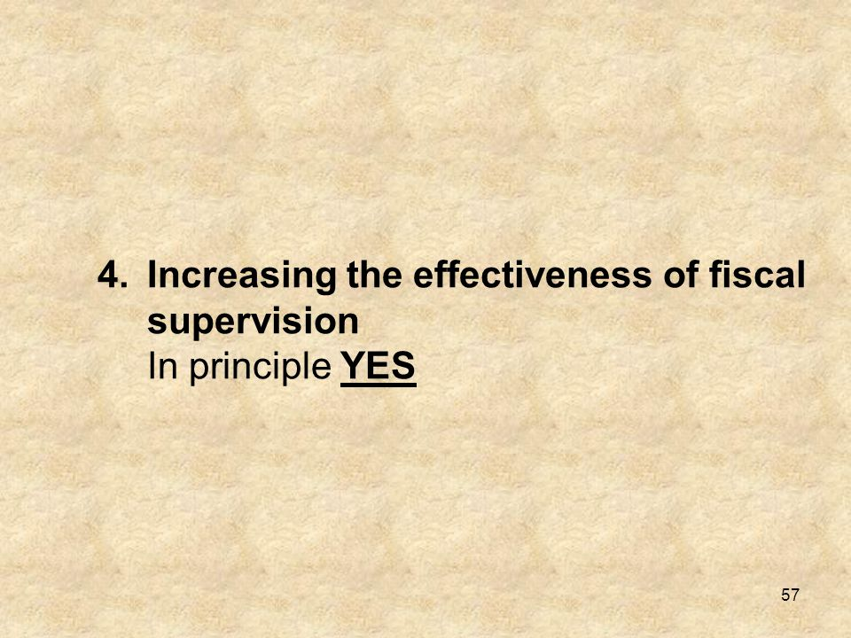 Increasing the effectiveness of fiscal supervision In principle YES