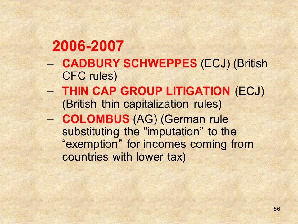 2006-2007 CADBURY SCHWEPPES (ECJ) (British CFC rules)