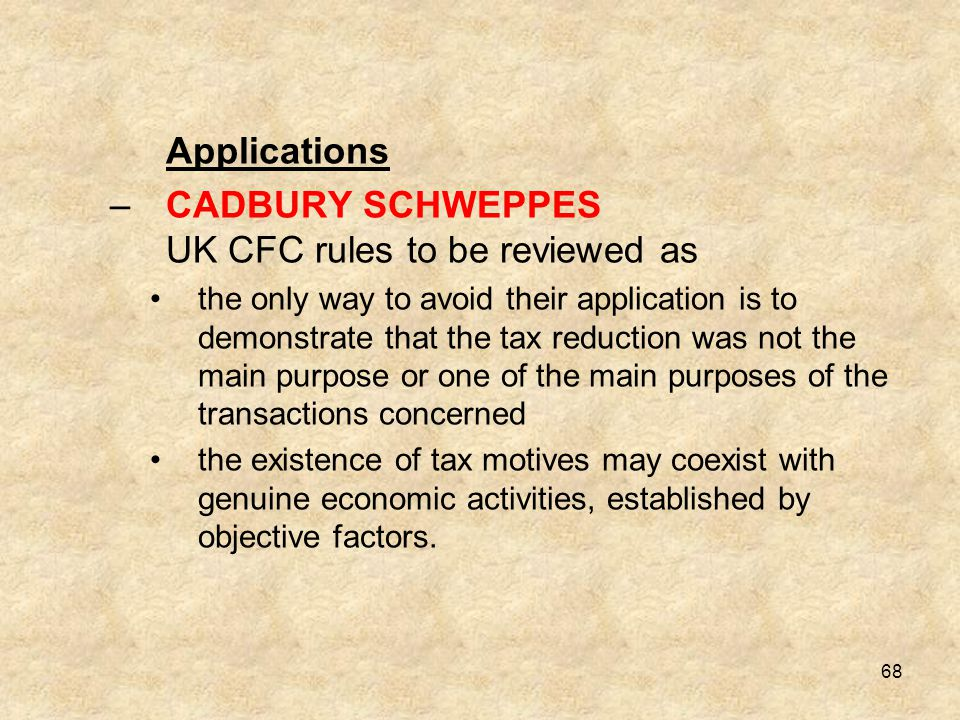 CADBURY SCHWEPPES UK CFC rules to be reviewed as