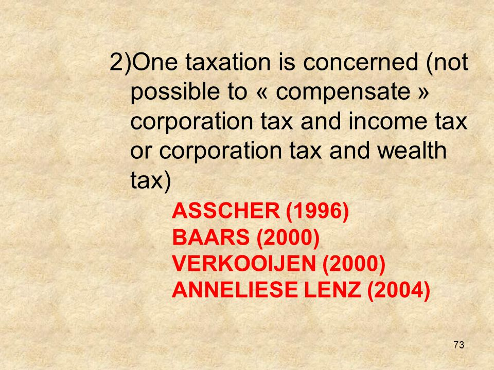One taxation is concerned (not possible to « compensate » corporation tax and income tax or corporation tax and wealth tax) ASSCHER (1996) BAARS (2000) VERKOOIJEN (2000) ANNELIESE LENZ (2004)
