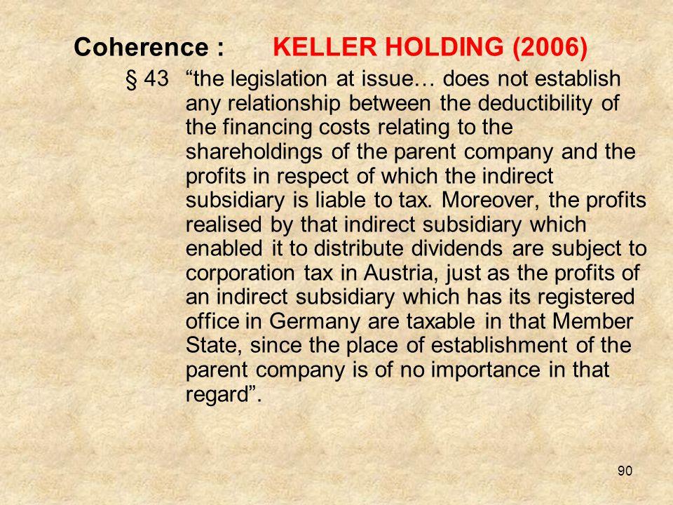 Coherence : KELLER HOLDING (2006)
