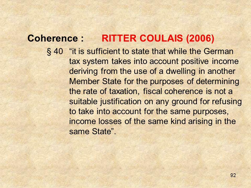 Coherence : RITTER COULAIS (2006)