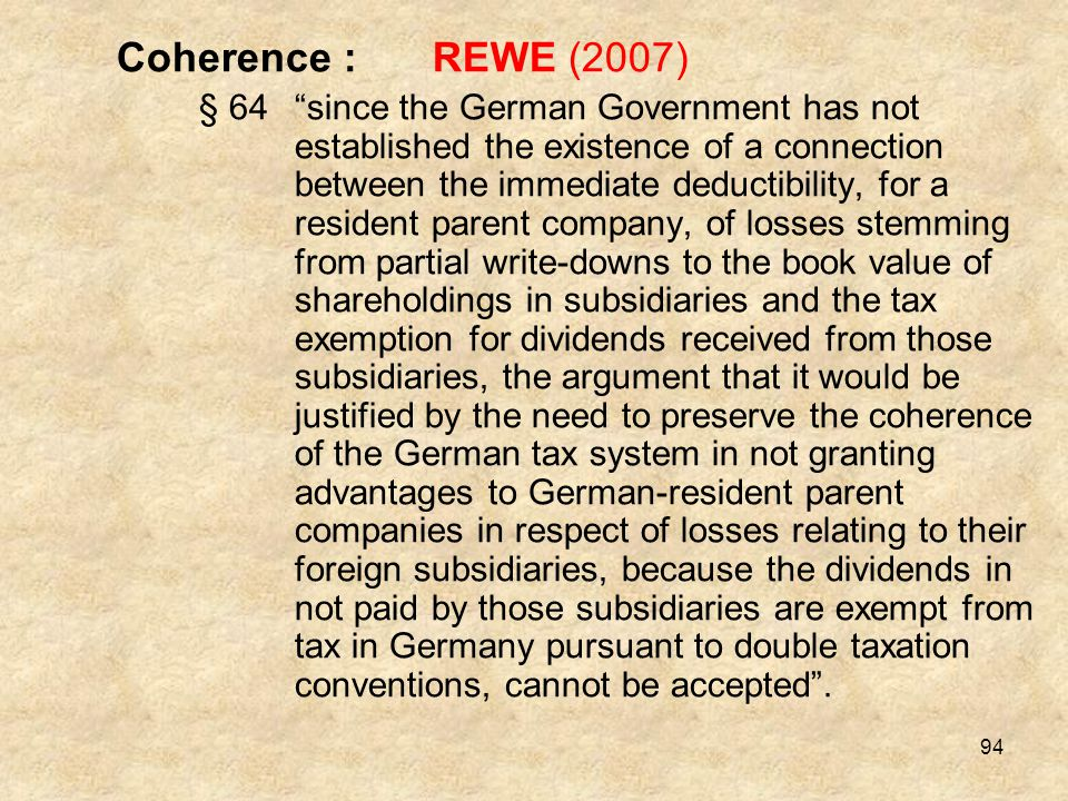 Coherence : REWE (2007)