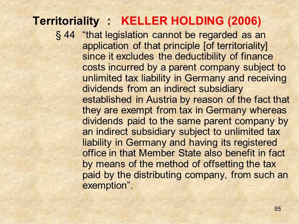Territoriality : KELLER HOLDING (2006)