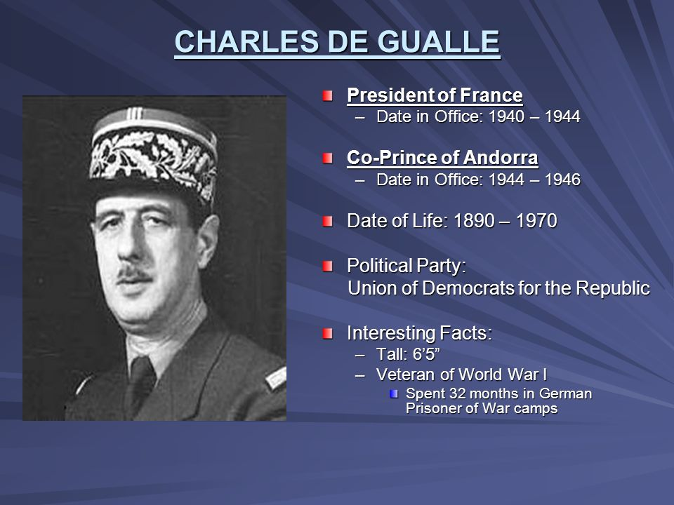 CHARLES DE GUALLE President of France Co-Prince of Andorra