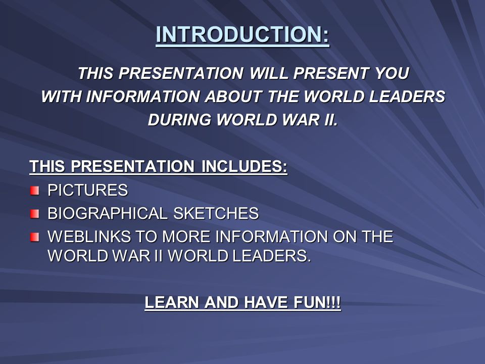 INTRODUCTION: THIS PRESENTATION WILL PRESENT YOU