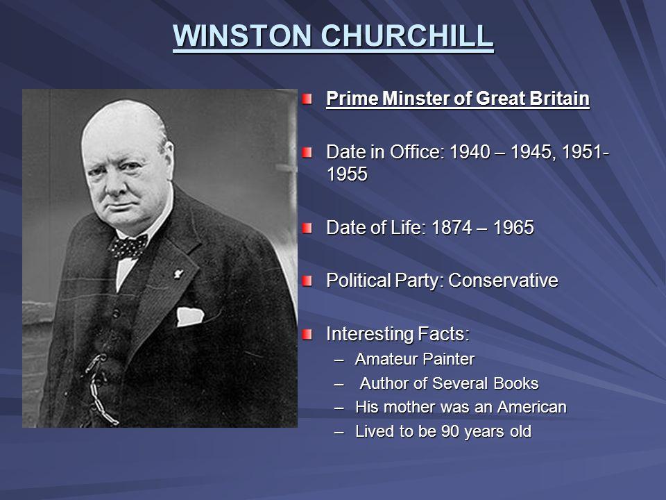 WINSTON CHURCHILL Prime Minster of Great Britain