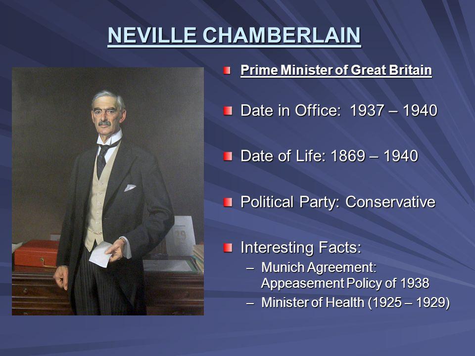NEVILLE CHAMBERLAIN Date in Office: 1937 – 1940