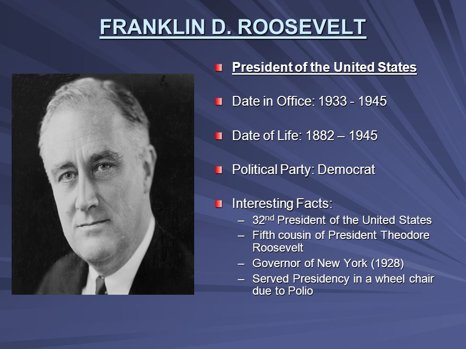 Franklin D. Roosevelt – 32nd President of the United States Essay Sample