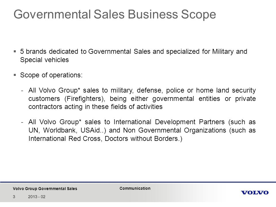 Governmental Sales Business Scope