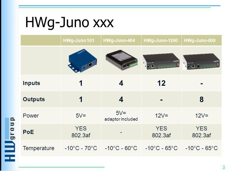 HWg-Juno xxx 1 4 12 - 8 Inputs Outputs Power 5V= 12V= PoE YES 802.3af