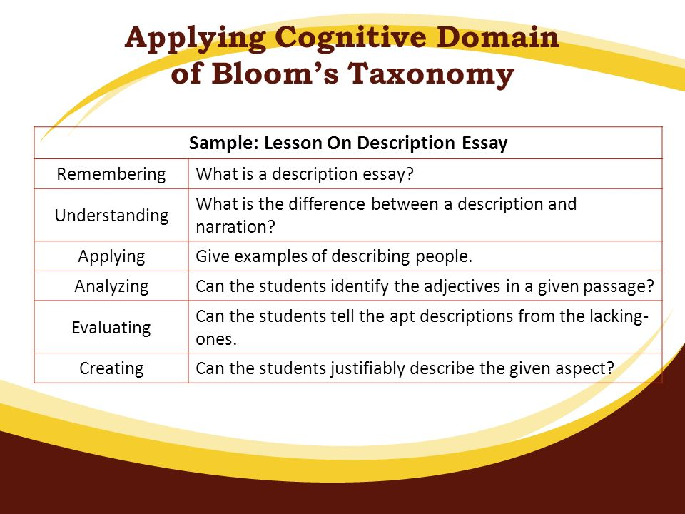 Applying Cognitive Domain of Bloom's Taxonomy