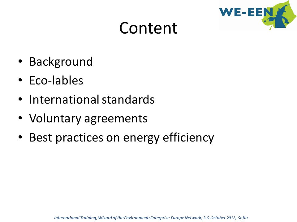 Content Background Eco-lables International standards