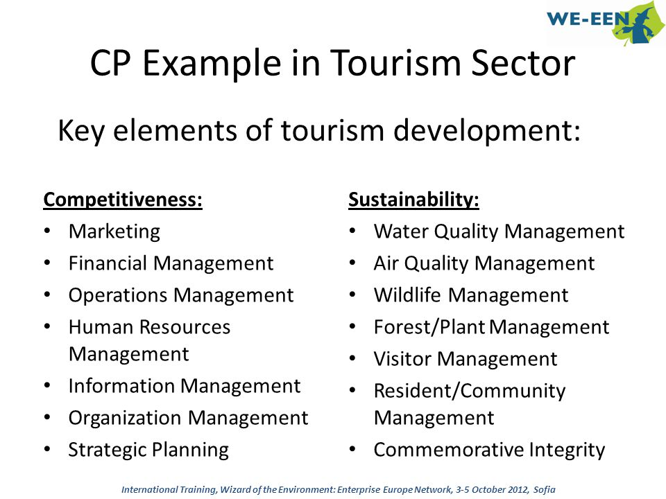 CP Example in Tourism Sector