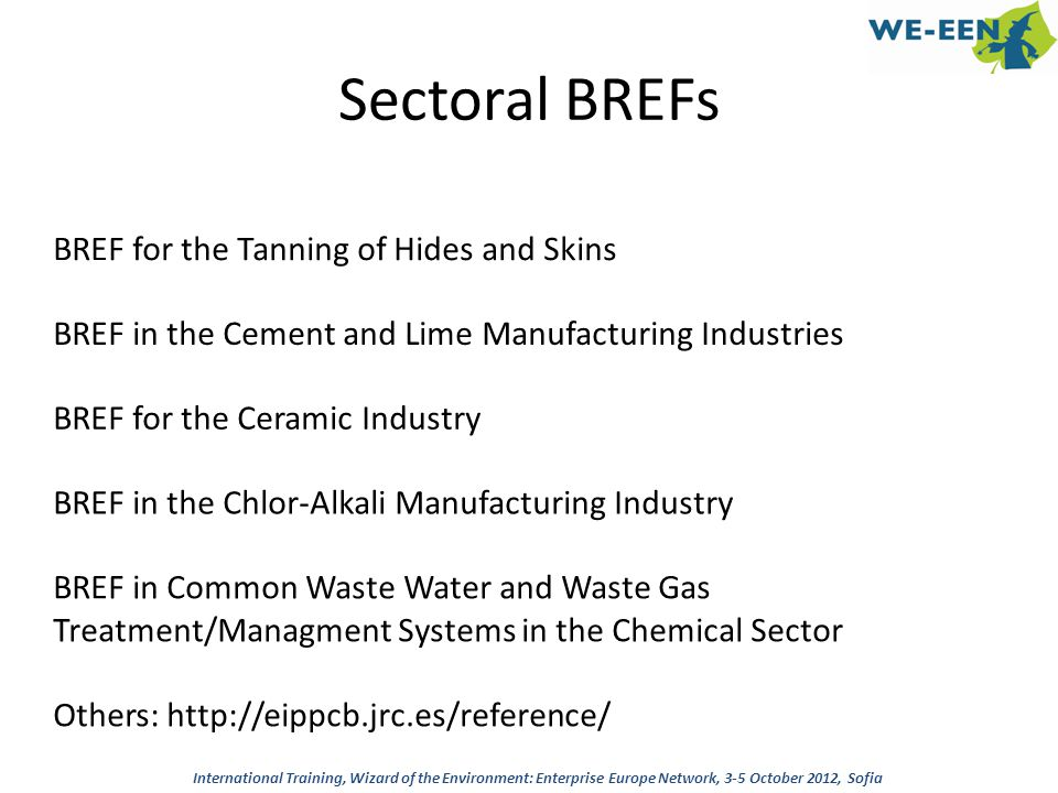 Sectoral BREFs BREF for the Tanning of Hides and Skins