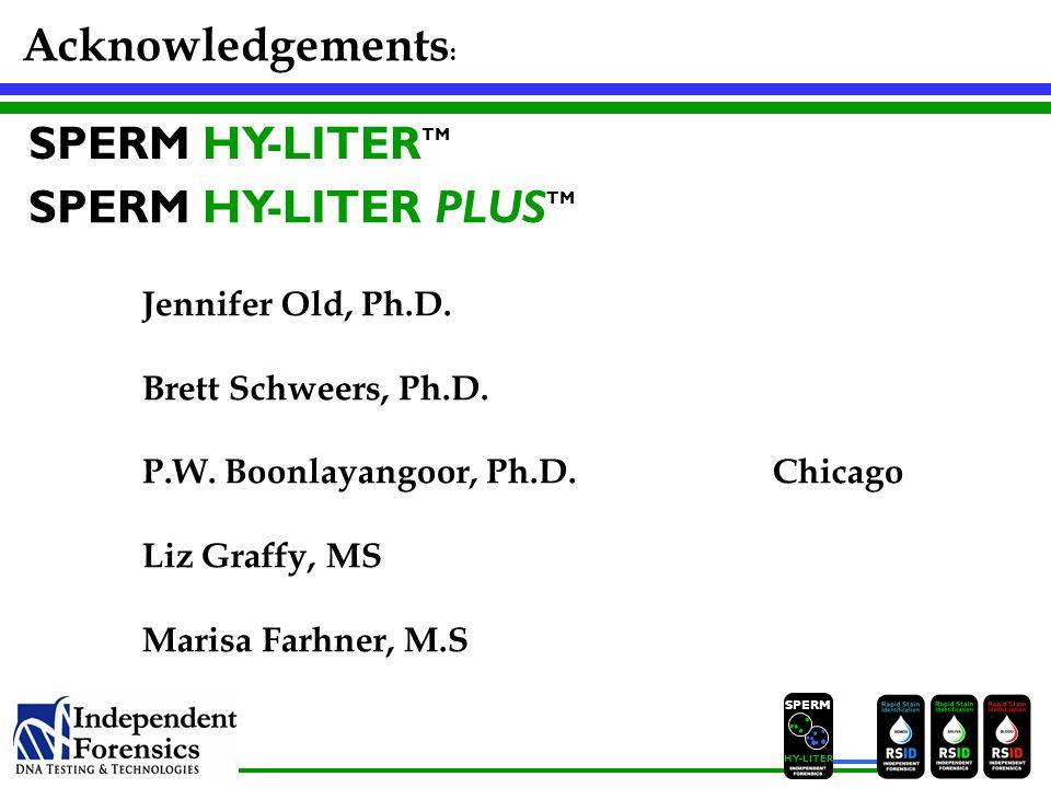 Acknowledgements: SPERM HY-LITERTM SPERM HY-LITER PLUSTM