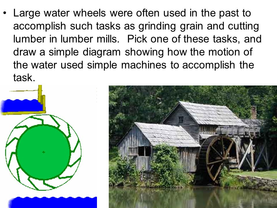 Large water wheels were often used in the past to accomplish such tasks as grinding grain and cutting lumber in lumber mills.