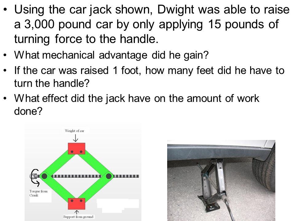Using the car jack shown, Dwight was able to raise a 3,000 pound car by only applying 15 pounds of turning force to the handle.