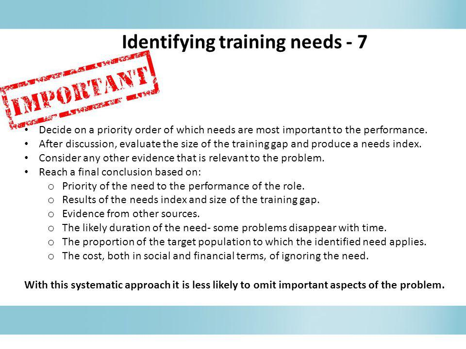 Identifying training needs - 7