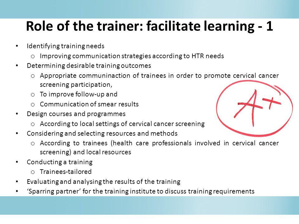 Role of the trainer: facilitate learning - 1