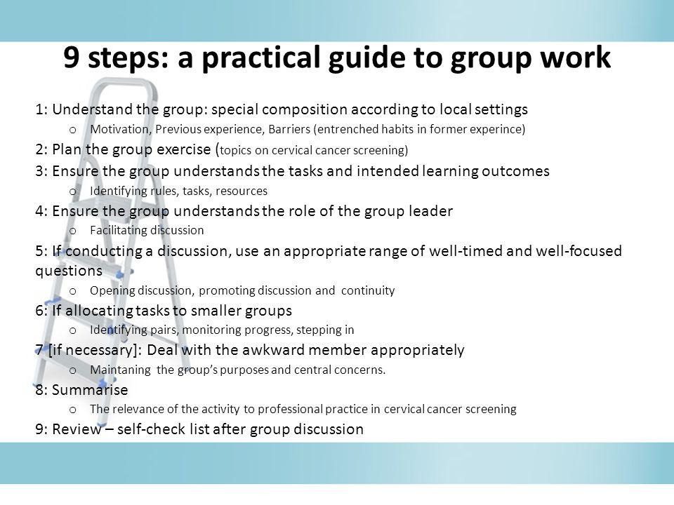 9 steps: a practical guide to group work