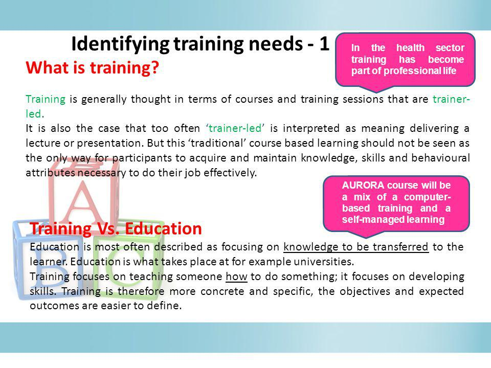 Identifying training needs - 1