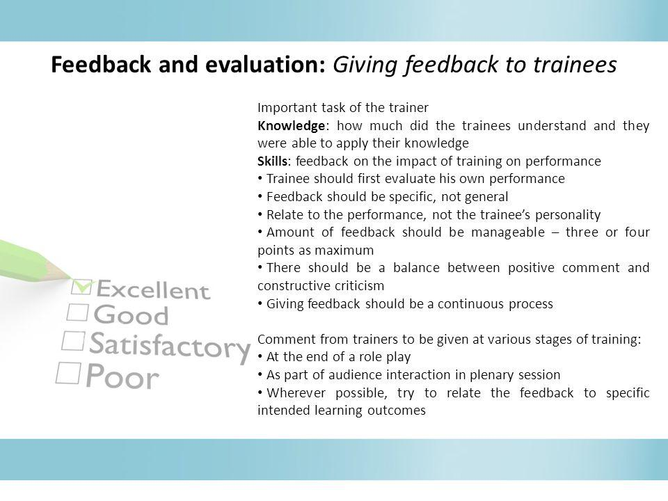 Feedback and evaluation: Giving feedback to trainees