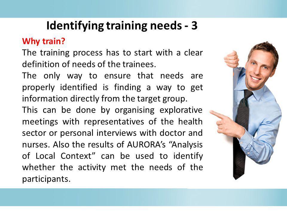 Identifying training needs - 3