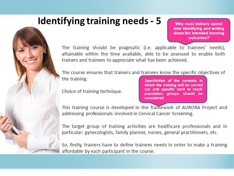 Identifying training needs - 5