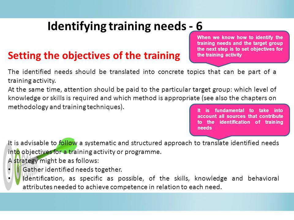 Identifying training needs - 6