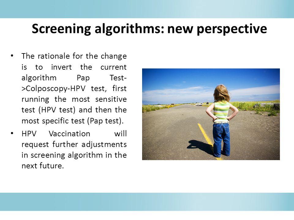 Screening algorithms: new perspective