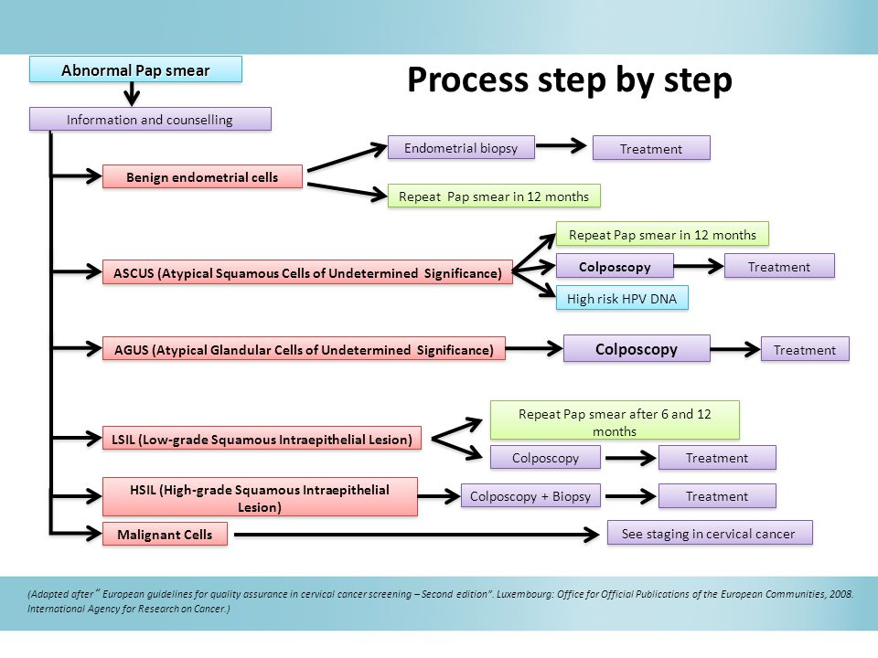 Process step by step Abnormal Pap smear Information and counselling