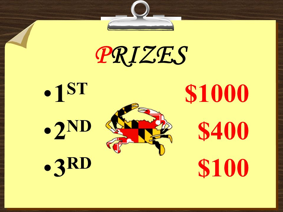 PRIZES 1ST $1000 2ND $400 3RD $100