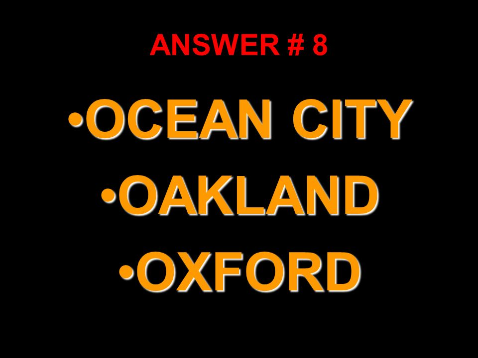 OCEAN CITY OAKLAND OXFORD
