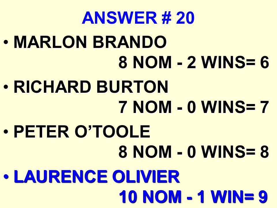 ANSWER # 20 MARLON BRANDO 8 NOM - 2 WINS= 6. RICHARD BURTON 7 NOM - 0 WINS= 7. PETER O'TOOLE 8 NOM - 0 WINS= 8.