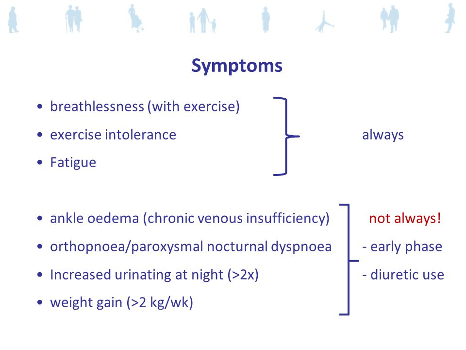 Symptoms breathlessness (with exercise) exercise intolerance always
