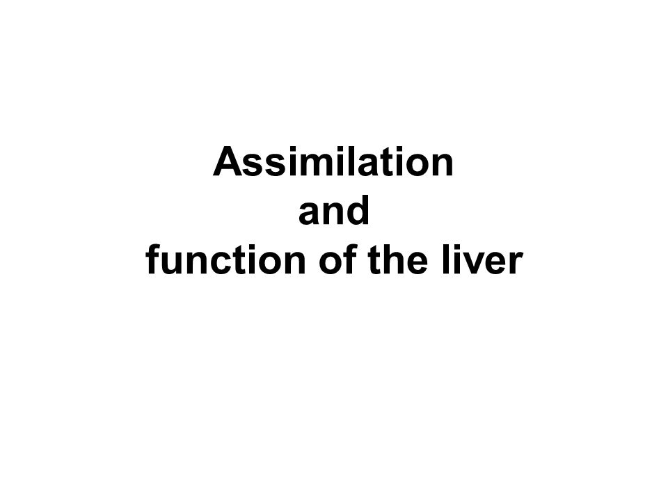 Assimilation and function of the liver