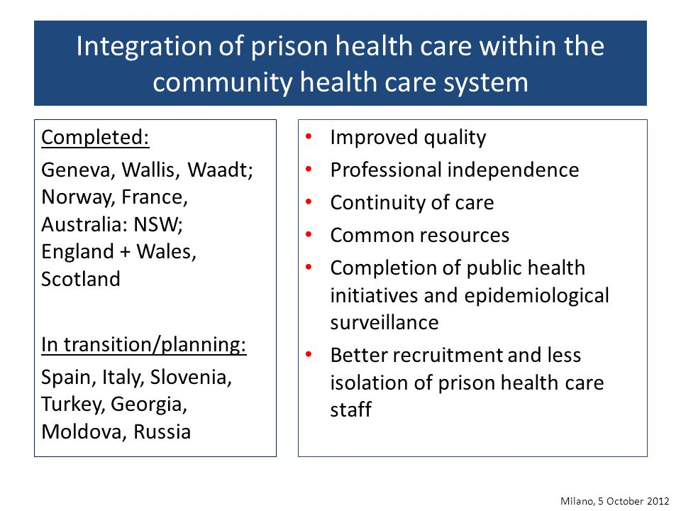 Integration of prison health care within the community health care system