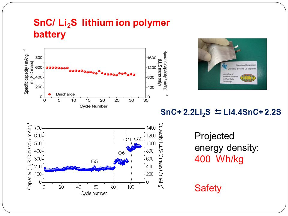 SnC/ Li2S lithium ion polymer battery