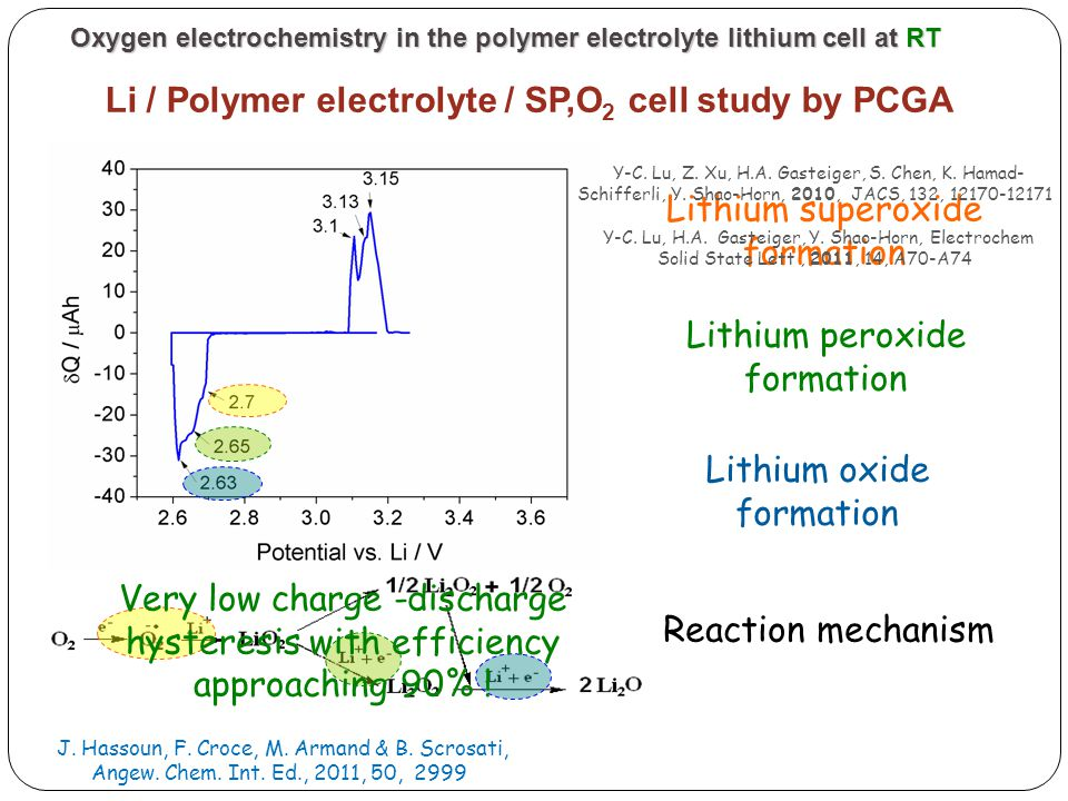 Li / Polymer electrolyte / SP,O2 cell study by PCGA