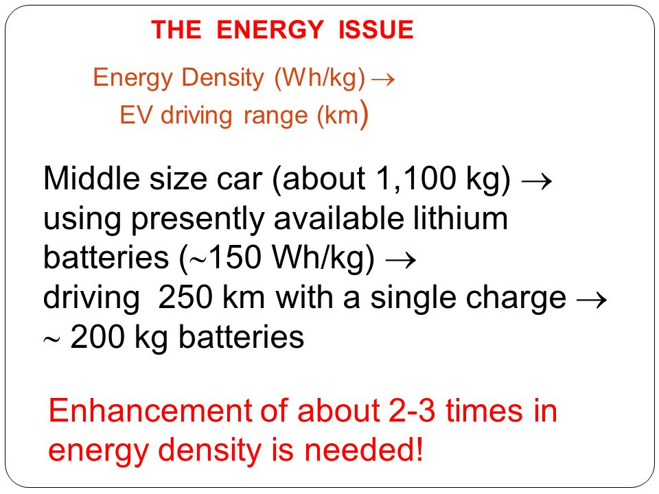 Energy Density (Wh/kg)  EV driving range (km)