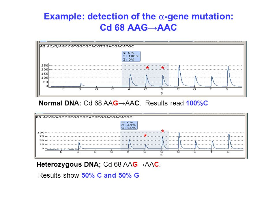 Example: detection of the a-gene mutation: Cd 68 AAG→AAC