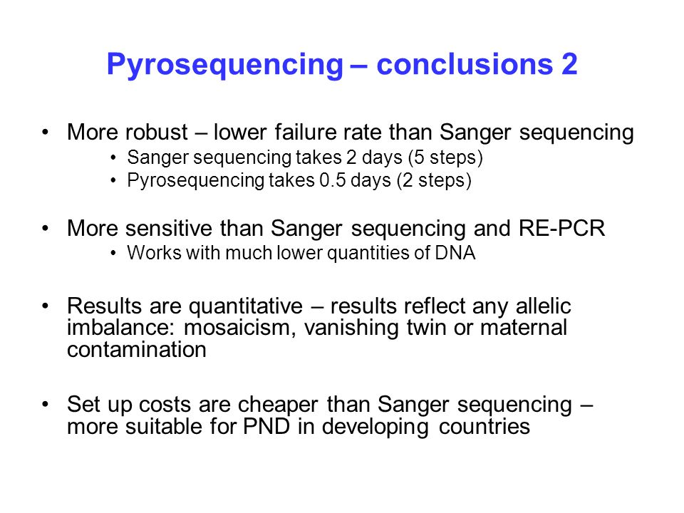 Pyrosequencing – conclusions 2