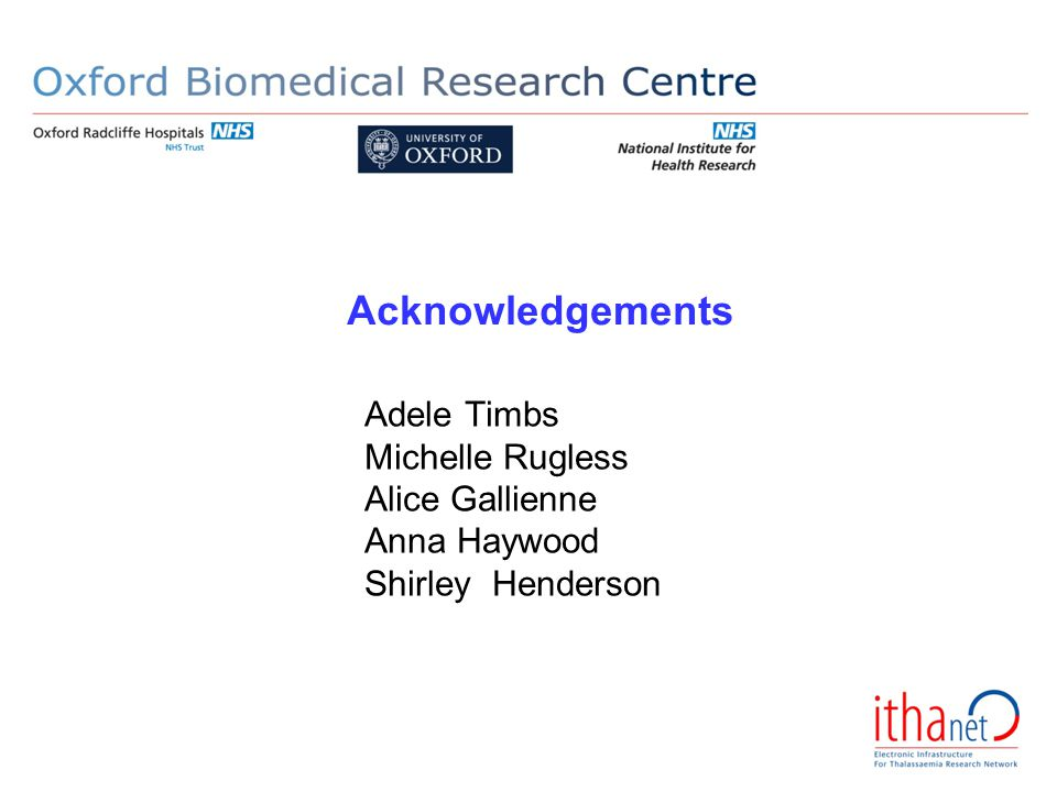 Acknowledgements Adele Timbs Michelle Rugless Alice Gallienne Anna Haywood Shirley Henderson