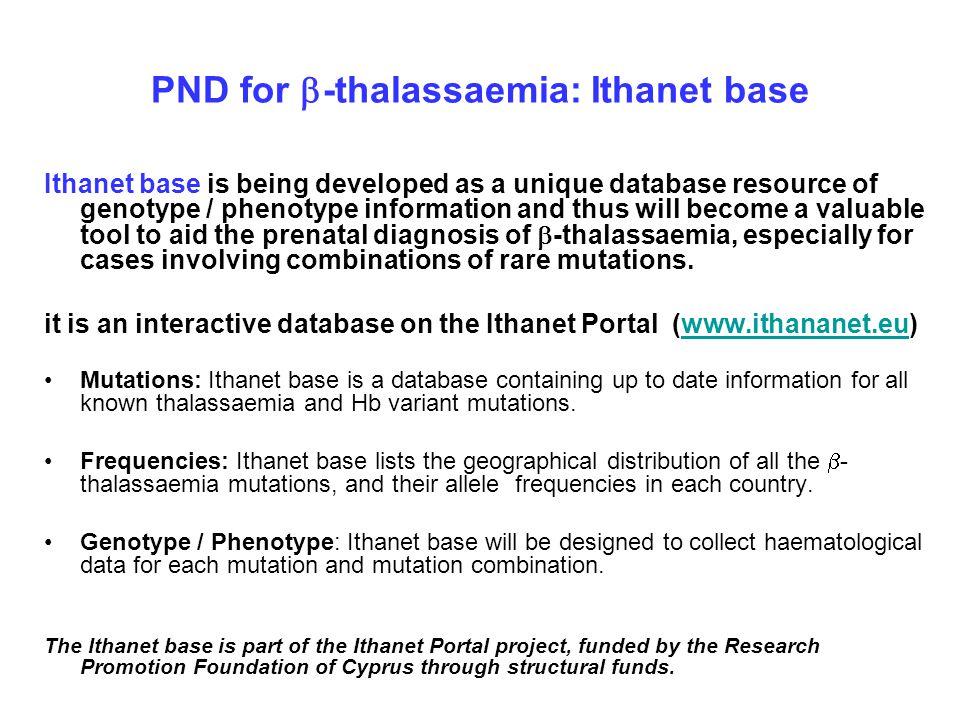 PND for b-thalassaemia: Ithanet base