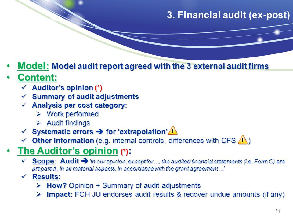 3. Financial audit (ex-post)