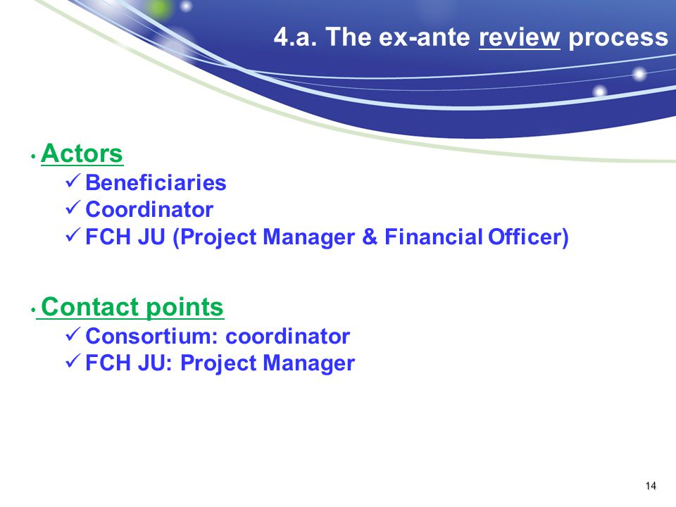 4.a. The ex-ante review process