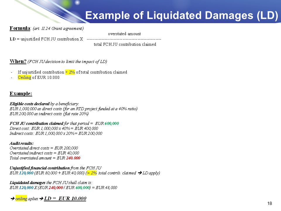 Example of Liquidated Damages (LD)