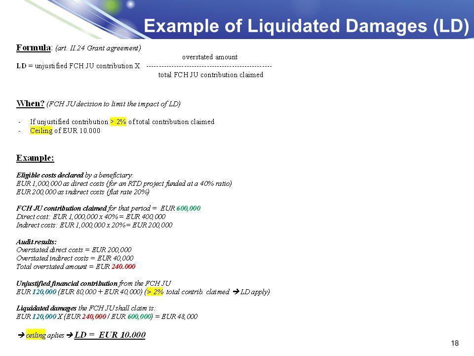 Example of Liquidated Damages (LD)