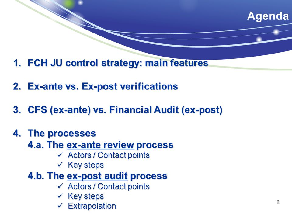 Agenda FCH JU control strategy: main features